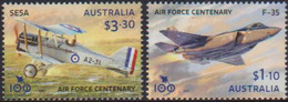 AUSTRALIA, 2021, MNH, PLANES, RAAF CENTENARY, ROYAL AUSTRALIAN AIR FORCE, 2v - Airplanes