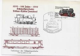 3620  Tarjeta  Zittau   1990  , 100 Jahre Schmaispurbahn Zittau-Oybin-Jonsdorf,  Tren - Trains