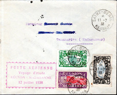 LETTRE POSTE AERIENNE 1938 - POSTEE SAINT DENIS - VOYAGE ETUDE LA REUNION A MADAGASCAR - - Airmail