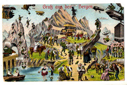 """Künstler-AK """"Gruss Aus Den Bergen"""", Lustige Scherzkarte, Gel. Feldpost 10.10.1916 - Gruss Aus.../ Gruesse Aus..."""