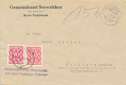 SEEWALCHEN  -  1952  ,  Umschlag Des Gemeindeamtes Nach Salzburg Mit Nachporto - Segnatasse