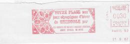 "1967 EMA "" Agence De Voyage Cook""  Jeux Olympiques De Grenoble 1968 (n° N 1011) Fragment De Lettre - Inverno1968: Grenoble"