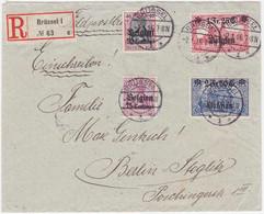 Landespost In Belgien MiNr. 5,6,8 U. 9 Auf R-Feldpostbrief Mit Rs. AK-Stempel (R1217) - Besetzungen 1914-18