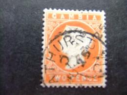 GAMBIA GAMBIE 1886-1887 REINA VICTORIA YVERT 13 FU WMK CROWN CA Couché - Gambia (...-1964)