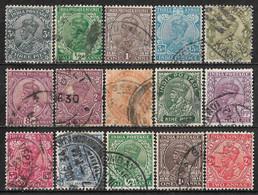 1926-1934 INDIA Set Of 15 USED STAMPS (Michel # 100-102,104-106,113,114,116,130,131,133-137) CV €3.80 - 1911-35 King George V