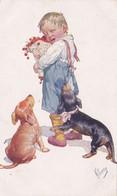 1927/ Getekende Kaart, Feiertag, Kind Met Dackel, Teckel, - Dogs