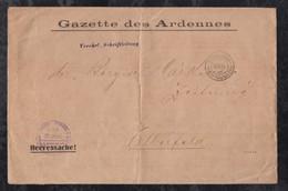 Deutsches Reich 1915 Feldpost Drucksache Königlich Preussisches Grosses Hauptquartier Gazette Des Ardennes Nach Elberfel - Cartas