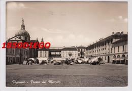 VIGEVANO - PIAZZA DEL MERCATO F/GRANDE VIAGGIATA  1954 BELLA ANIMAZIONE - Vigevano