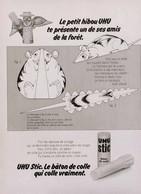 Publicité COLLE UHU STIC HIBOU SOURIS 1973 FRP1053868 - Publicidad