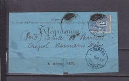 FRANCE SAGE SUR FORMULAIRE TELEGRAMME DE PARIS POUR ROMANS DROME - Telegraaf-en Telefoonzegels