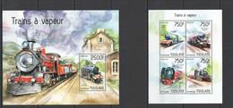 TG561 2014 TOGO TOGOLAISE TRANSPORT STEAM TRAINS LES TRAINS A VAPEUR KB+BL MNH - Trains