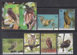 2019 Cuba Owls Hiboux Birds Complete Set Of 6 + Souvenir Sheet  MNH - Neufs