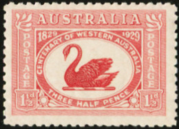 AUSTRALIA 1929 Centenary Of Western Australia Swan Swans Bird Birds Animals Fauna MNH - Swans