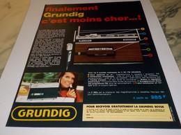 ANCIENNE PUBLICITE MAGNETO RECEPTEUR FM GRUNDIG 1970 - Other