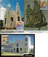 Brazil 2007 Complete Series 3 Maximum Card Stampselos RHM-C-2381/2683Steps Of The Priest And Saint Joseph Of Anchieta - Cartoline Maximum