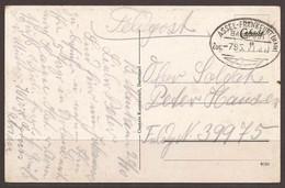 GERMANY. WW1. FELDPOST. RAILWAY POSTMARK. ZUG 795. ASSEL TO FRANKFURT. - Cartas