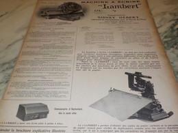 ANCIENNE PUBLICITE MACHINE A ECRIRE LAMBERT  1906 - Other