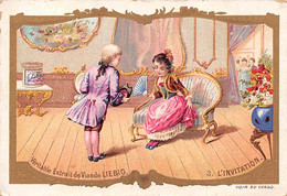 Chromos.AM15115.7x10 Cm Environ.Liebig.N°3.L'invitation.Homme Invitant Une Dame - Liebig