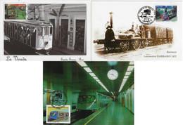 Brazil 2007 Complete Series With 3 Maximum Card Stamp RHM-C-2697/2699Railway Metro Tram Railroad Transport - Trains