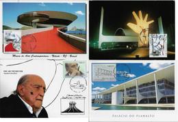 Brazil 2008 /2014 2 Complete Series With 2 Maximum Card Each StampArchitect Oscar Niemeyer Brasilia - Altri