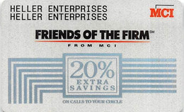 MCI Friends Of The Firm 20% Extra Savings Calling Card (different Backs) - [3] Magnetic Cards