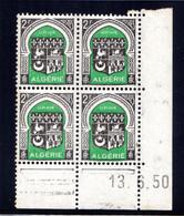 ALGÉRIE YT-N°: 259 - Blason D'ORAN, Coin Daté Du 13.06.1950, Galvano B De A+B, 5e Tirage, NSC/**/MNH - Nuovi
