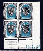 ALGÉRIE YT-N°: 268 - Blason D'ALGER, Coin Daté Du 18.06.1949, Galvano C De C+D, 2e Tirage, NSC/**/MNH - Nuovi