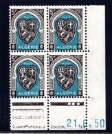 ALGÉRIE YT-N°: 268 - Blason D'ALGER, Coin Daté Du 21.06.1950, Galvano C De C+D, 4e Tirage, NSC/**/MNH - Nuovi