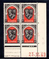 ALGÉRIE YT-N°: 271 - Blason D'ALGER, Coin Daté Du 23.12.1949, Galvano A De A+B, 3e Tirage, NSC/**/MNH - Nuovi