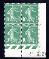 YT-N°: 159 - SEMEUSE, Coin Daté Du 31.03.1927, Galvano S De R+S, 3e Tirage, Voire Description - ....-1929