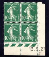 YT-N°: 159 - SEMEUSE, Coin Daté Du 12.05.1927, Galvano Q De Q+T, 1er Tirage, NSC/**/MNH - ....-1929
