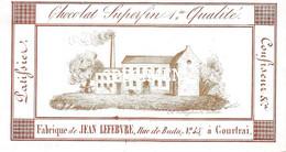 Porceleinkaart Chocolat Superfin 1er Qualité - Fabrique De Jean Lefebvre Confiseur  - Kortrijk Courtrai - 6 X 11 Cm - Kortrijk