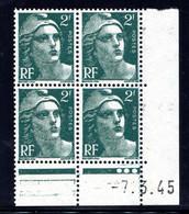 YT-N°: 713 - MARIANNE DE GANDON, Coin Daté Du 07.03.1945, Galvano E De E+F, 1er Tirage, NSC/**/MNH - 1940-1949