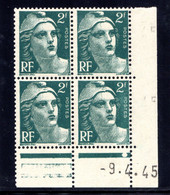 YT-N°: 713 - MARIANNE DE GANDON, Coin Daté Du 09.04.1945, Galvano P De O+P, 1er Tirage, NSC/**/MNH - 1940-1949