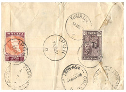 (VV 8) Malaysia Registered Cover Posted To Australia - 1961  (Perak Tiger Stamp) Stamps Are At Back Of Cover - Federation Of Malaya