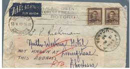 (VV 8) New Zealand Registered Cover Posted To Rhodesia (RTO) 1948 - With N. Rhodesia + Uganda + Kenya Postmarks - Federation Of Malaya