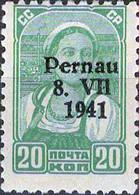 2950 Mi.Nr. 2 Deutsche Besetzung 2. WK Estland (1941) Overprint Pernau On Russian Stamp Ungebraucht - Estonia