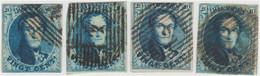 """COB N°4 """"Médaillon"""" Filigrane """"LL"""" Encadré - Lot De 4 Timbres - 1849-1850 Medallions (3/5)"""
