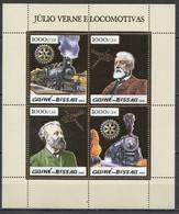 2005 GUINEA-BISSAU JULES VERNE & TRAINS LOCOMOTIVES SPACE ROTARY !!! GOLD #2940-2943 KB MNH - Trains