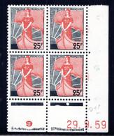 YT-N°: 1216 - MARIANNE À LA NEF, Coin Daté Du 29.09.1959, Galvano P De O+P, 1er Tirage, NSC/**/MNH - 1950-1959