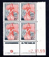 YT-N°: 1216 - MARIANNE À LA NEF, Coin Daté Du 02.10.1959, Galvano O De O+P, 1er Tirage, NSC/**/MNH - 1950-1959