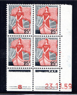 YT-N°: 1216 - MARIANNE À LA NEF, Coin Daté Du 23.11.1959, Galvano U De U+V, 1er Tirage, NSC/**/MNH - 1950-1959