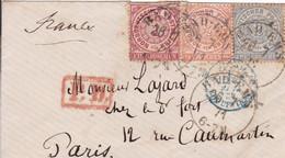 LSC Allemagne Du Nord Pour Paris 1871 Affranchie à3 1/2 Groschen Entrée En France à Erquelinnes CP Rouge - North German Conf.