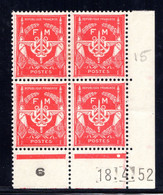 YT-N°: FM 12 - FRANCHISE MILITAIRE, Coin Daté Du 18.04.1952, Galvano B De A+B, 13e Tirage, Voir Description - 1950-1959