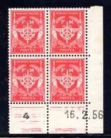 YT-N°: FM 12 - FRANCHISE MILITAIRE, Coin Daté Du 16.02.1956, Galvano I De I+J, 1er Tirage, NSC/**/MNH - 1950-1959