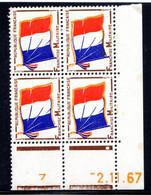 YT-N°: FM 13 - DRAPEAU, Coin Daté Du 02.11.1967, Galvano B De A+B, 3e Tirage, NSC/**/MNH - 1950-1959