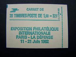 2219-C1a CONF. 8 CARNET FERME 20 TIMBRES LIBERTE DE GANDON 1,60 VERT PHILEXFRANCE 82 - Standaardgebruik