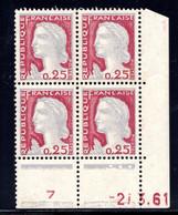 YT-N°: 1263 - DECARIS, Coin Daté Du 27.03.1961, Galvano S De S+T, 2e Tirage, NSC/**/MNH - 1960-1969