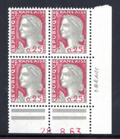 YT-N°: 1263 - DECARIS, Coin Daté Du 28.08.1963, Galvano D'un Carnet, NSC/**/MNH - 1960-1969