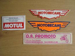 LOT DE 4 AUTOCOLLANTS MOTOBECANE MOTUL PROMOTO MONTARGIS - Stickers